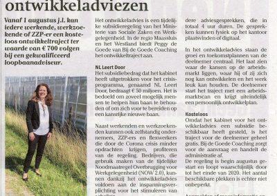 krantartikel in de Schakel (Midden-Delfland) over gratis ontwikkeladvies door Bij de Goede Coaching